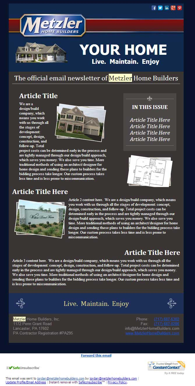 Constant contact newsletter design metzler home builders abd constant contact newsletter design metzler home builders pronofoot35fo Images