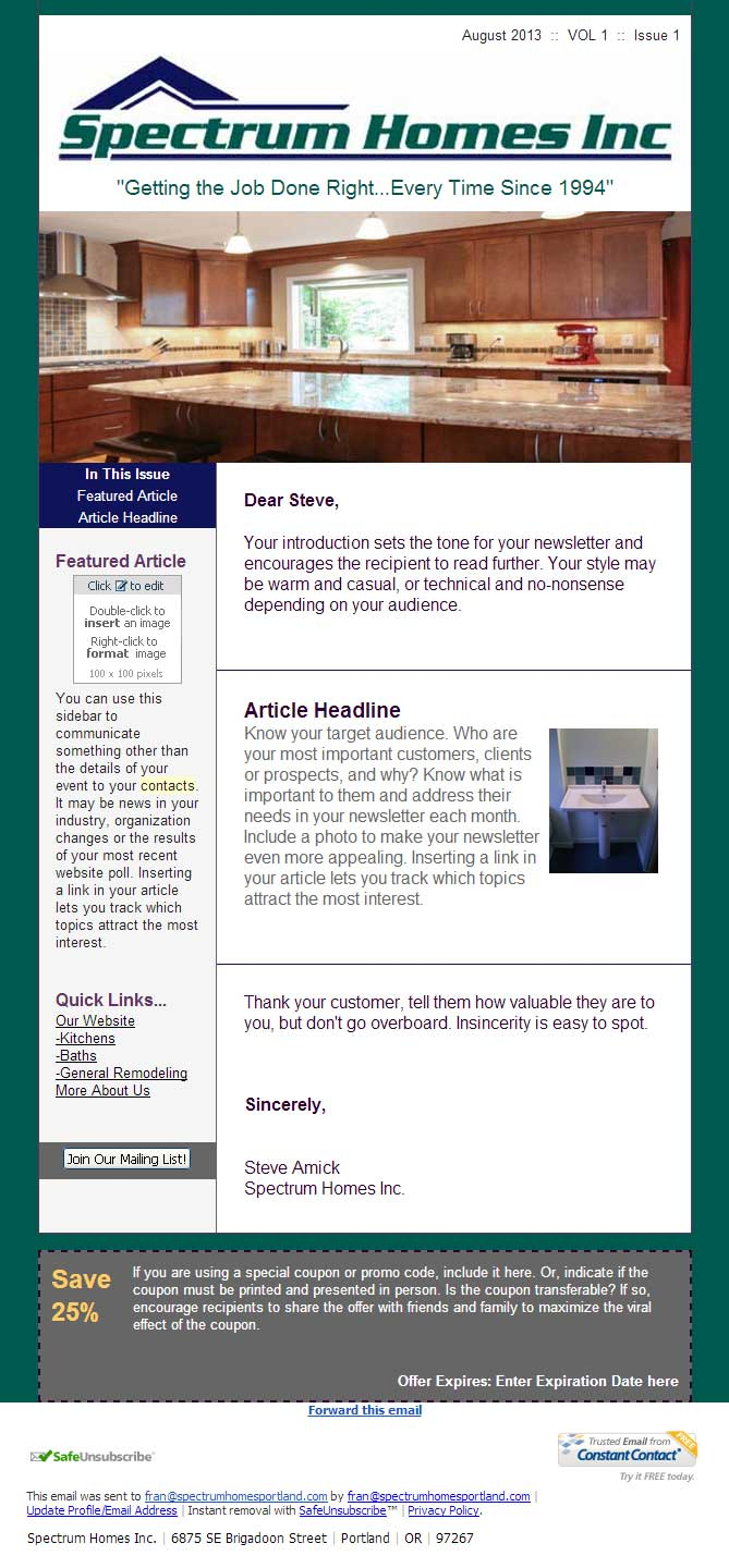 Constant Contact Newsletter Design Spectrum Home Builders Abd